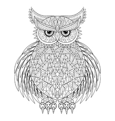Hand drawn zentangle Owl bird totem for adult vector