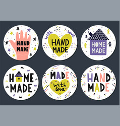 hand made stickers set with lettering in vector image