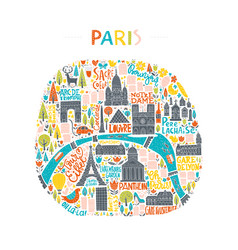 Handdrawn paris map vector