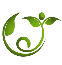 Healthy leaf men fitness logo vector image