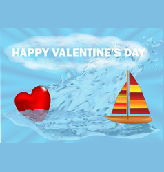 Heart and boat vector