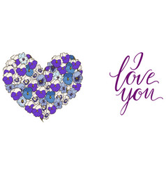 Heart of blue and purple pansies flowers isolated vector