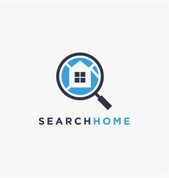home map and magnifying glass logo icon template vector image