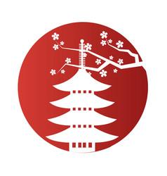 japanese pagoda sakura red circle frame background vector image