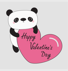 Kawaii panda baby bear happy valentines day cute vector