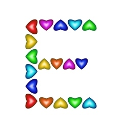 Letter E made of multicolored hearts vector image