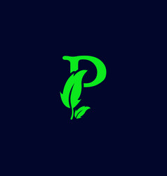 Letter p leaf nature eco green logo template vector
