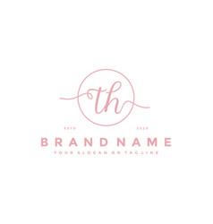 Letter th feminine logo design vector