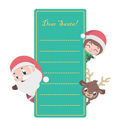 letter to santa with christmas characters vector image