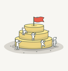 little white people climb the pyramid leadership vector image