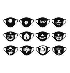 Medical antiviral masks icons set with funny faces vector