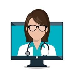 Monitor female doctor stethoscope consultation vector