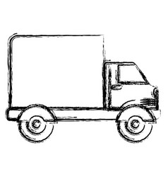 monochrome blurred silhouette of truck with wagon vector image