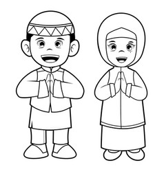 Moslem boy and girl - art line vector
