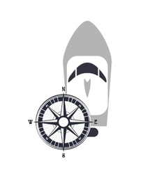 Motor boat and compass icon vector
