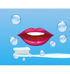 Mouth and toothpaste vector