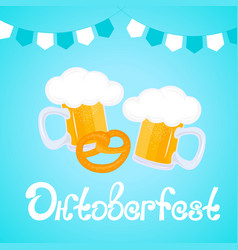 oktoberfest hand drawn lettering mug of beer vector image