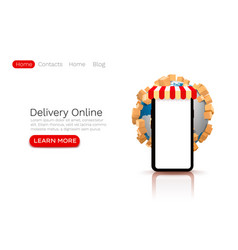 online global store app mobile shipping web site vector image