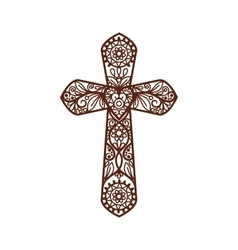 Ornate christian cross on white vector image