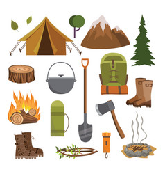 outdoor camping equipment set - flat cartoon vector image