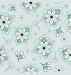 pattern with blue doodle flowers and branches vector image