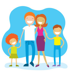 portrait of four member family posing together vector image
