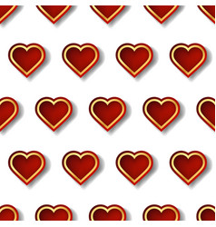 red and gold heart seamless pattern with creative vector image
