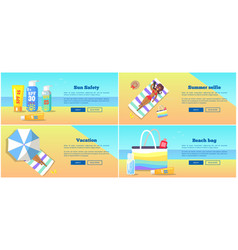 relaxation on beach in summertime poster vector image