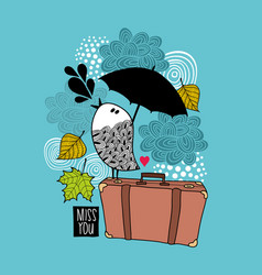 sad bird on the old bag singing of love vector image