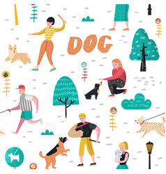 seamless pattern people training dogs in the park vector image