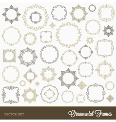 Set flourishes ornament frames vector