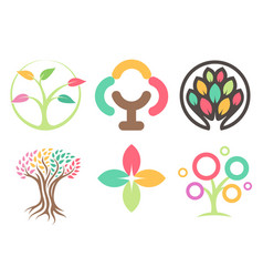 set logos trees abstract leaves icons vector image