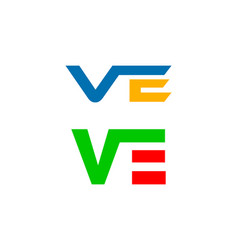 set of initial letter ve logo template design vector image