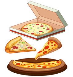 set of pizza on white background vector image