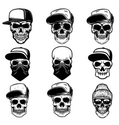 Set skulls in baseball cap and bandana design vector
