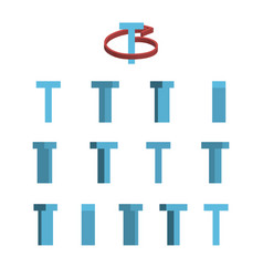 Sheet of sprites rotation of cartoon 3d letter t vector
