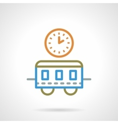 Simple color line train time icon vector image