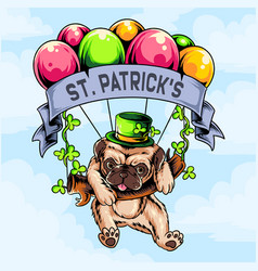 st patricks day pug dog flying with balloon vector image