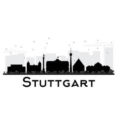 stuttgart city skyline black and white silhouette vector image