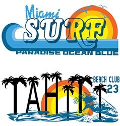 tahiti tropical set miami and vector image