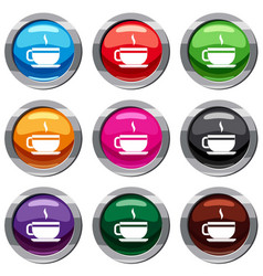tea cup and saucer set 9 collection vector image