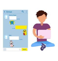 teenage boy teenager chatting kakaotalk messenger vector image