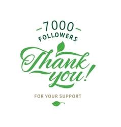 Thank you 7000 followers card ecology vector