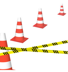 traffic cones with yellow black ribbon vector image