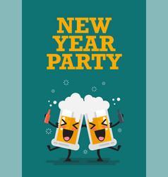 Two drunk beer glasses character new year party vector