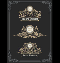 Vintage gold emblem set flourishes crest vector