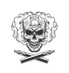 vintage hipster skull wearing cap vector image