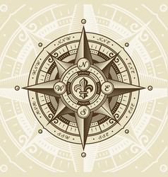 Vintage nautical wind rose vector