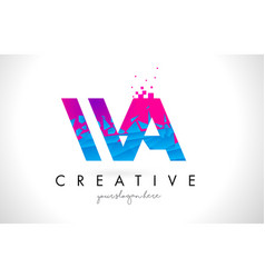 wa w a letter logo with shattered broken blue vector image