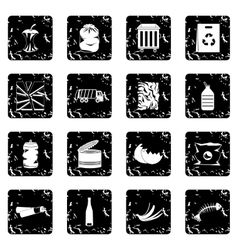 Waste and garbage set icons grunge style vector